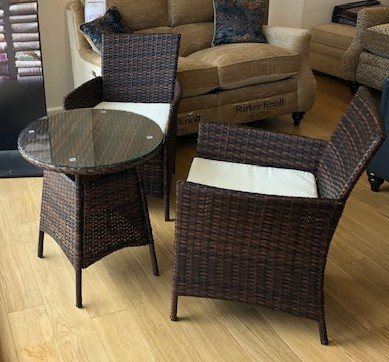 Rattan Table & 2 Chairs available from stock £399